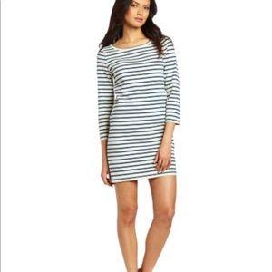 Joie Cotton Cream Blue Striped Dress